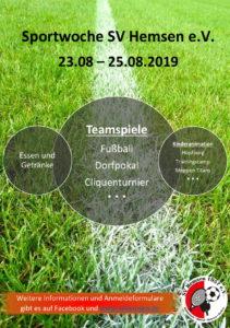 Plakat Sportwoche SV Hemsen