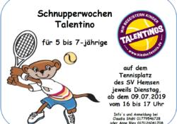 Tennis Schnupperwochen